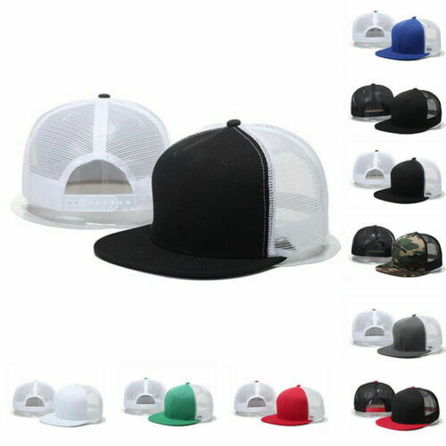 Snap Baseball Hop Trucker Back Adjustable Solid Hip Flat Mens Cap Hat Mesh Visor