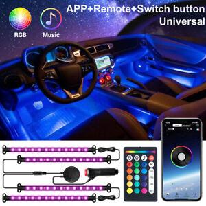 4x-LED-RGB-Auto-Lichtleiste-Innenraumbeleuchtung-Ambientebeleuchtung-Set-APP-12V