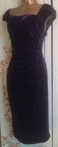 K L Size 'tina' Purple Pencil Wiggle Bennett 6 Uk Splendida Dress Velvet d5wz4dq