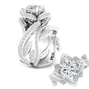 Fashion-Women-925-Silver-Gold-Lotus-Flower-White-Topaz-Ring-Set-Wedding-Jewelry