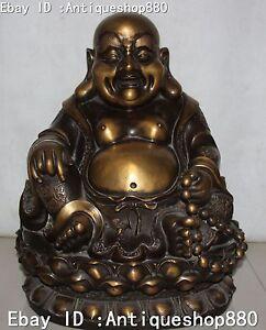 18-Chinese-Buddhism-Pure-Bronze-Happy-Laugh-Maitreya-Buddha-Lotus-Beads-Statue