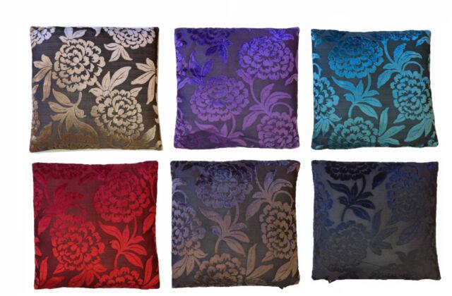 LUXURY STYLE FESTIVE FLOWERS VELVET PRINT CUSHION COVERS PILLOW CASE 45cm x 45cm
