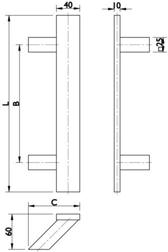 Stoßgriff 600mm und Ziehschutzrostte Edelstahl Haustürbeschlag komplett eckig