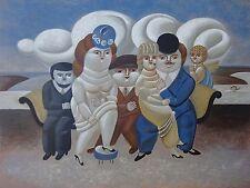 YURI MIHAILOVICH KRASNY RUSSIAN PASTEL LITHO BOTERO ART DECO SOFA CHERUB ANGEL