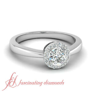 699cf53e7 Details about .35 Ct Round Cut Diamond Halo Tapered Style Engagement Ring  Pave Set 14K Gold .