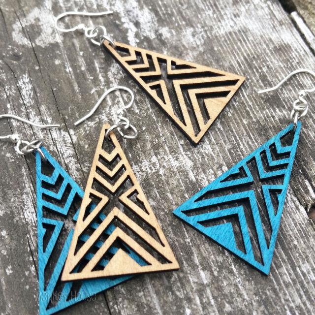 Green Tree Jewelry earrings INTERLOCKED TRIANGLE laser-cut wood AQUA or TAN 1075