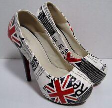 MING YUAN High Heel British Flag Union Jack Platform Shoes Pump EU 38 US 7.5