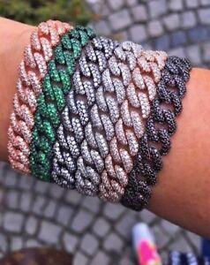 Curb-Chain-Bracelet-Black-Cubic-Zirconia-Gemstone-925-Silver-14K-Gold-Plated