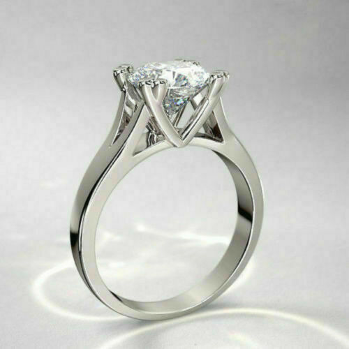 3.22ct Round Brilliant Solitaire Diamond Engagement Ring Solid 14k White Gold