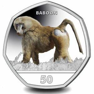 Pavian 2018 50p Cupro Nickel Farbig Münze