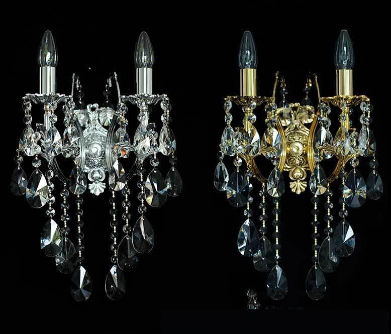 CRISTALLO PARETE LAMPADE IN Coloreeee Coloreeee Coloreeee dorato VERE blei-kristall Lampadario 27e62b
