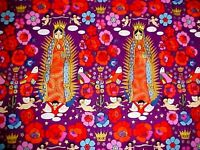 La Virgencita Fabric Folklorico Guadalupe Mexican Folk Art Purple Henry 2011 Yrd