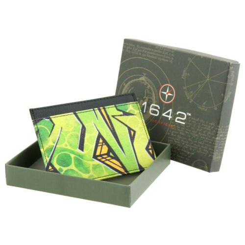 Genuine Leather Slim Card Holder Wallet with Graffiti Design by 1642 OFFER