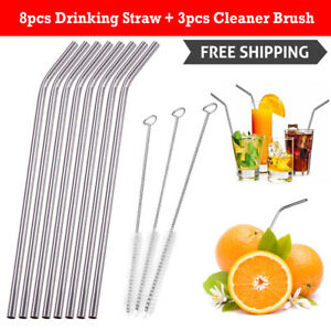 8Pcs-Stainless-Steel-Metal-Drinking-Straw-Reusable-Straws-3-Cleaner-Brush-Kit