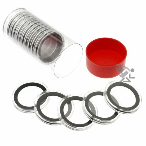 Red Capsule Tube /& 15 Air-Tite X38mm Black Ring Coin Holders for 1.5oz Silver