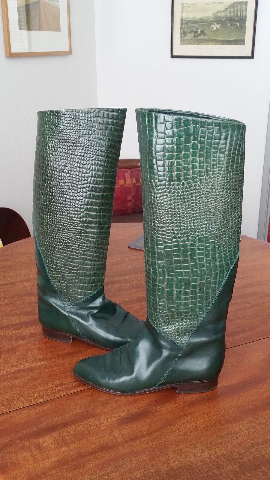 Charles David for Neiman Marcus all leather Italian Italian Italian made Grün Stiefel 8 B 25bfac