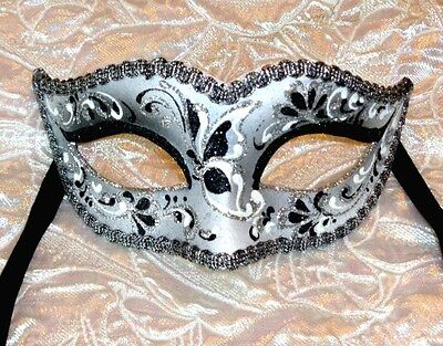 Eclipse Black Silver Mask Masquerade Mask OVERNIGHT to Aust Metro MADE IN ITALY