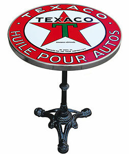 TABLE DE BISTROT EMAILLEE PUB RETRO TEXACO HUILE POUR AUTO