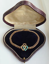 Antique Victorian 15ct Gold Turquoise & Pearl Two Entwined Hearts Bracelet c1900