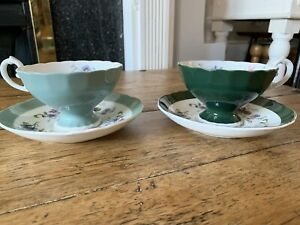 Crown-Staffordshire-Fine-Bone-China-Set-Of-2-Cup-And-Saucer-Floral-Design