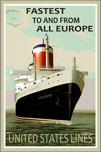 SS UNITED STATES Poster New Original Ocean Liner Cruise Ship Sea Art Print 008
