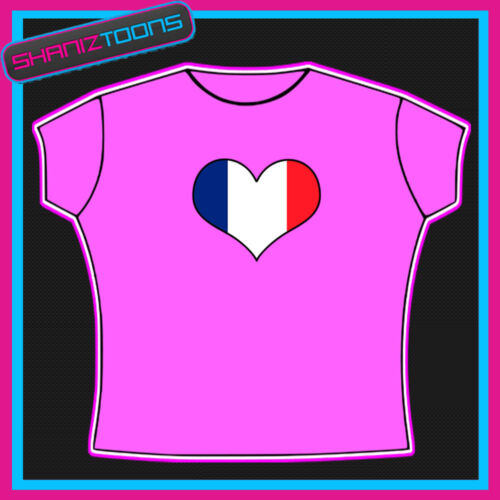 FRANCE FRENCH FLAG HEART SHAPED I LOVE T-SHIRT