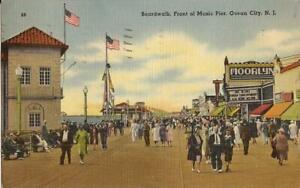 Ocean-City-NEW-JERSEY-Boardwalk-Music-Pier-1943-marque-flags