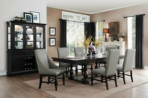 Details about FORMAL 7 PC RUSTIC COUNTRY STYLE DINING TABLE GREY GRAY  CHAIRS FURNITURE SET