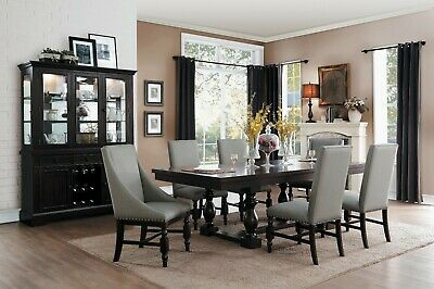 FORMAL 7 PC RUSTIC COUNTRY STYLE DINING TABLE GREY GRAY CHAIRS FURNITURE  SET | eBay