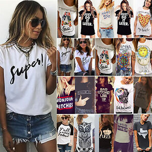 Women-Summer-T-shirt-Letter-Printed-Short-Sleeves-Casual-Tee-Shirts-Tops-Blouse