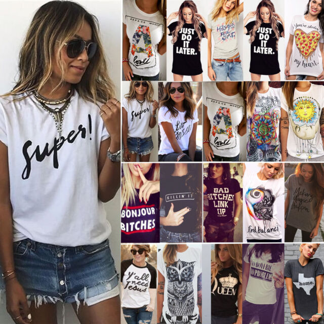 Women Summer T-shirt Letter Printed Short Sleeves Casual Tee Shirts Tops Blouse