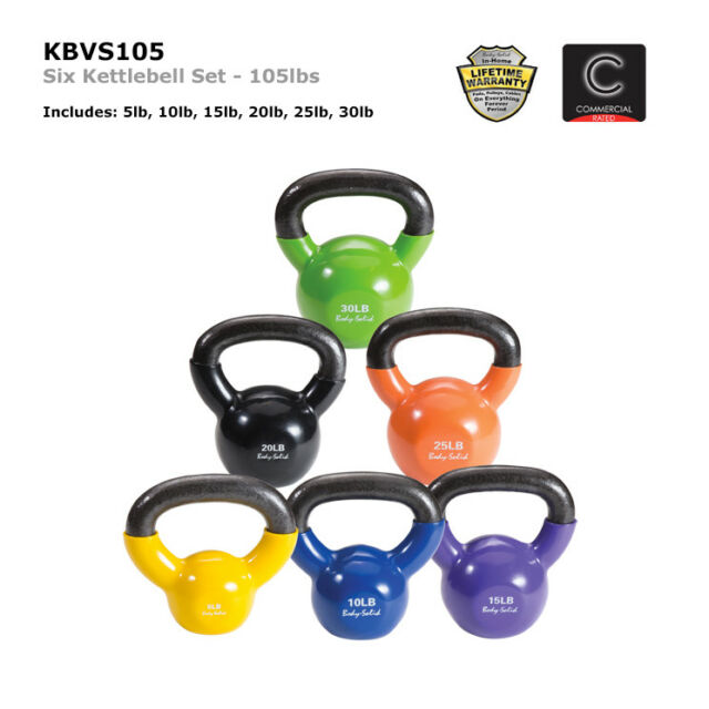 SET OF 6 Body-Solid Chrome Handle Rubber Coated Kettlebells 5lb to 30lb