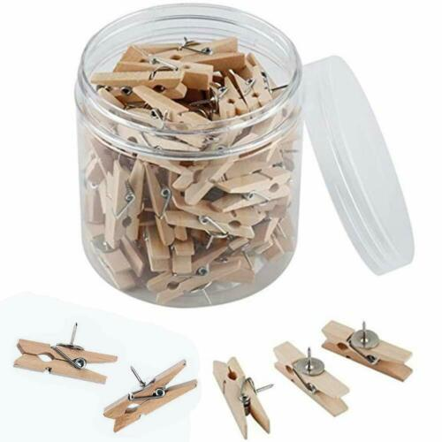 1.4 inch 50 Wood Clips with Push Pins for Cork Board Office Paper Works 3.5cm