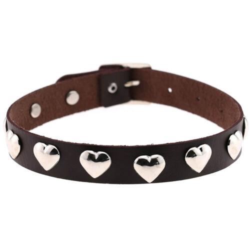 Women Fashion Multicolor Gothic Silver Heart Rivet Choker Collar Necklace Gift