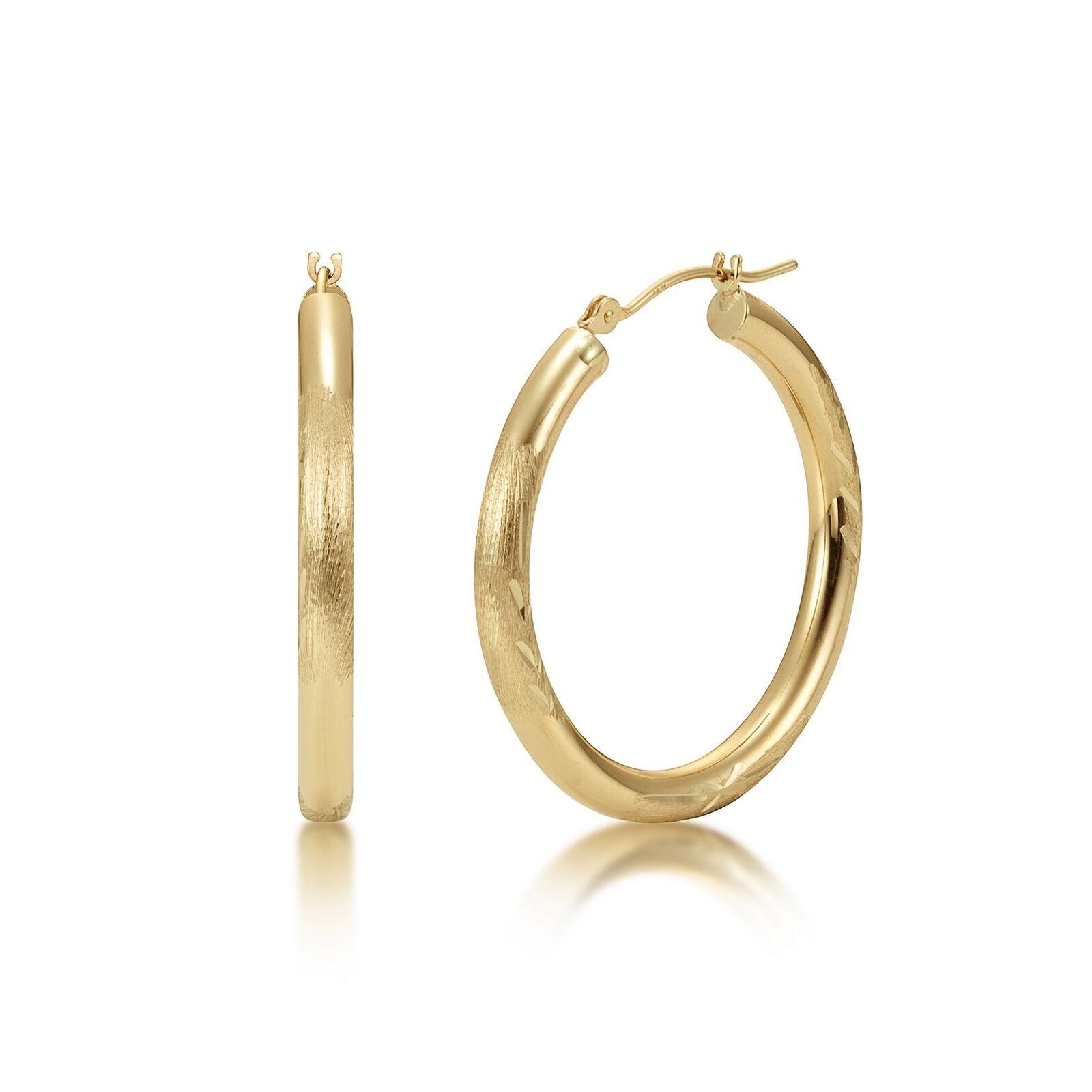 14K gold Hoop Earrings 3mm width Satin Diamond Cut Finish White or Yellow gold