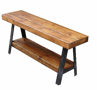 Classic Vintage Industrial Modern Rustic A Frame Shelving Console Table