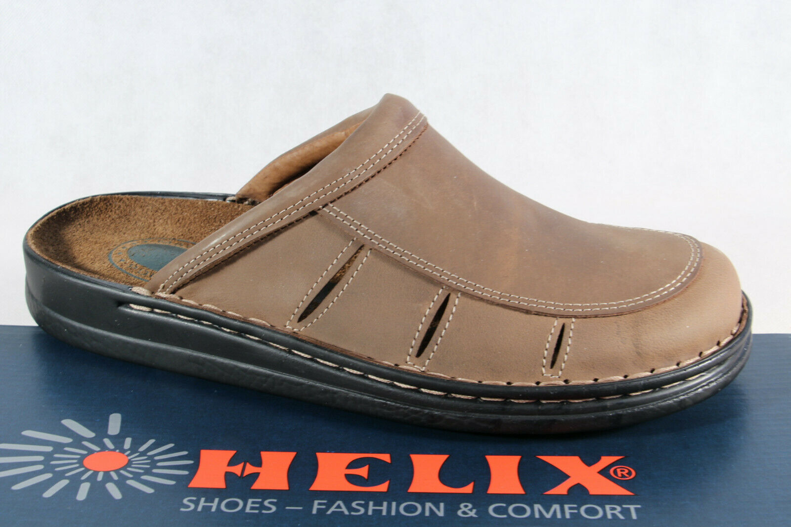 Helix Clogs Mules Slippers House shoes Brown Genuine Leather New