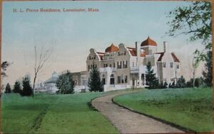 1910-Postcard-H-L-Pierce-Residence-Leominster-Mass-MA