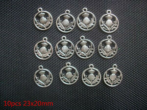 HOT-10pcs-Scottish-Thistle-Plant-Beads-Tibetan-Silver-Charms-Pendant-DIY-19x16mm