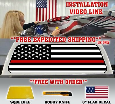 FIREFIGHTER THIN RED LINE AMERICAN FLAG PICK UP TRUCK REAR WINDOW DECAL TINT