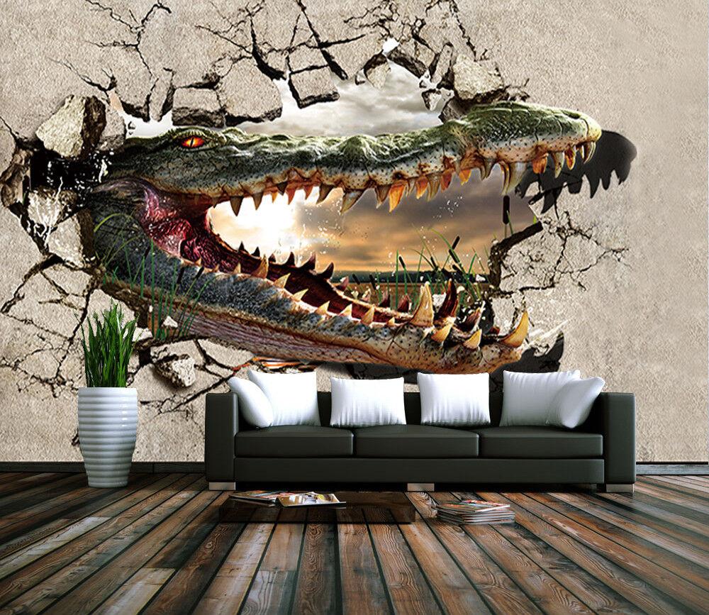 3D Crocodile Storm 7 Wall Paper Murals Wall Print Wall Wallpaper Mural AU Summer