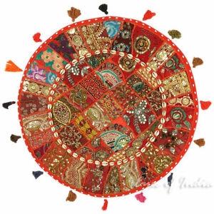 28-034-Red-Patchwork-Floor-Cushion-Seating-Pillow-Throw-Cover-Bohemian-Accent-India