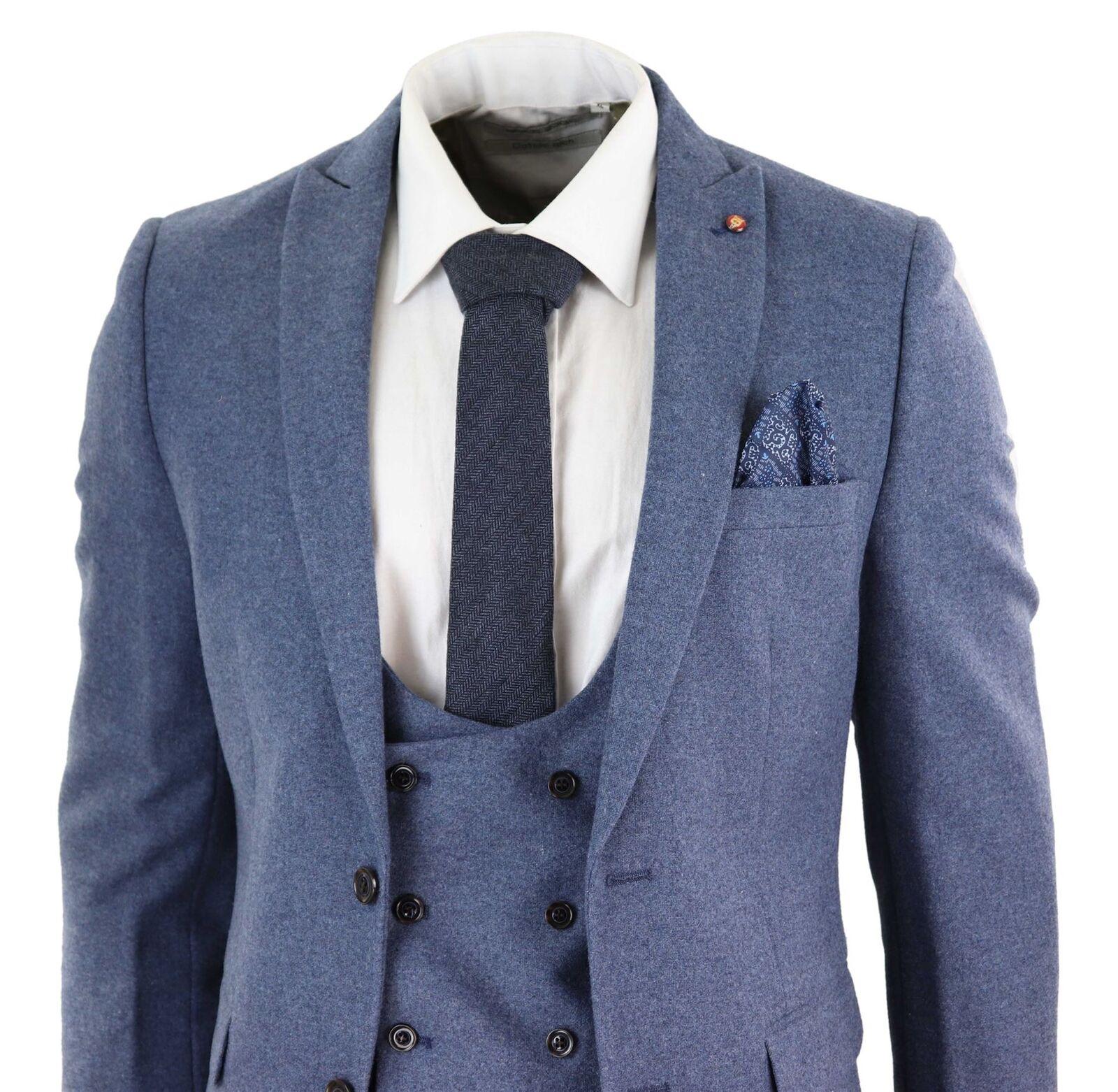 494adfdc1 Herren Wool Tweed 3 Piece Suit Slim Fit Blau Vintage Double Breast Peaky  Blinders