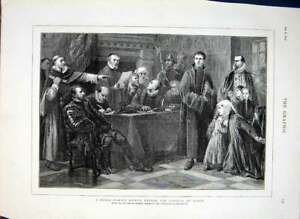 Original-Old-Antique-Print-Noble-Family-Before-Council-Blood-By-Soubre-1874-19th