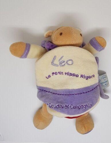 Peluche hippopotame Léo DOUDOU ET COMPAGNIE Le petit hippo rigolo livre violet