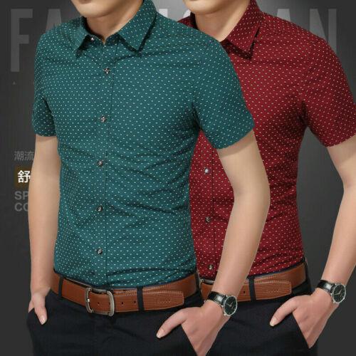 Men Luxury Casual Slim Fit Business Button Dress Shirts Short Sleeve Shirt Tops