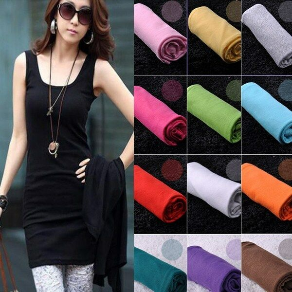 Fashion Women Cotton Sling Tank Sleeveless Tops Blouses Shirt Long Dress New