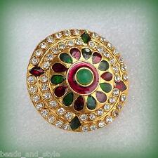 Adjustable big antique gold diamond red green enamel fashion jewelry finger ring