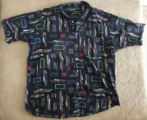 9a5ddf821 Vtg Nautica Hawaiian Shirt Boat All Over Print Men's XL Vintage Blue ...
