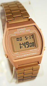 Casio-B-640WC-5A-Unisex-Rose-Gold-Watch-Digital-Stainless-Steel-Flash-Alert-New
